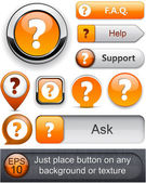 Question high-detailed modern buttons. — Stock Vector