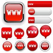 Www vysoce detailní web tlačítko kolekce. — Stock vektor