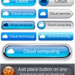 Cloud computing high-detailed modern buttons. — Stok Vektör