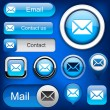 Постер, плакат: Mail high detailed web button collection