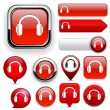 Royalty-Free Stock Vector Image: Headphones high-detailed web button collection.