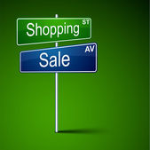 Shopping sale direction road sign. — Vecteur