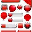 Red high-detailed modern buttons. — стоковый вектор #8082951