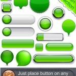 Green high-detailed modern buttons. — Stock Vector