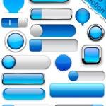 Blue high-detailed modern buttons. — Stock Vector