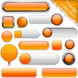 Orange high-detailed modern buttons. — Cтоковый вектор