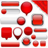 Botones modernos rojos alto detalladas. — Vector de stock