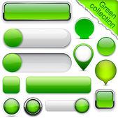 Groene hoge-gedetailleerde moderne knoppen. — Stockvector