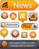 Rss high-detailed modern buttons. — Stock Vector