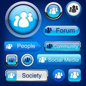 Forum high-detailed modern buttons. — Stock Vector