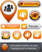 Forum high-detailed modern buttons. — Stock Vector