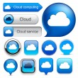 Cloud computing high-detailed modern buttons. — Stockvectorbeeld