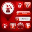 Royalty-Free Stock Vector Image: Dustbin high-detailed web button collection.