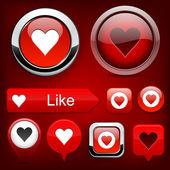 Love high-detailed modern buttons. — Stock Vector