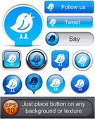 Kuş yüksek detaylı modern düğmeleri. — Stok Vektör