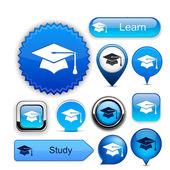 Botões moderno alta detalhado de educação. — Vetor de Stock