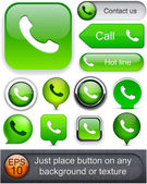 Colección de botón teléfono web alto detalladas. — Vector de stock