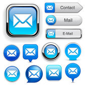 Mail web yüksek detaylı düğmesi koleksiyonu. — Stok Vektör