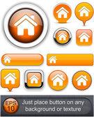 Home high-detailed web button collection. — Stock Vector