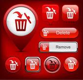 Dustbin high-detailed web button collection. — Stock Vector