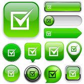 Checkmark high-detailed web button collection. — Stock Vector