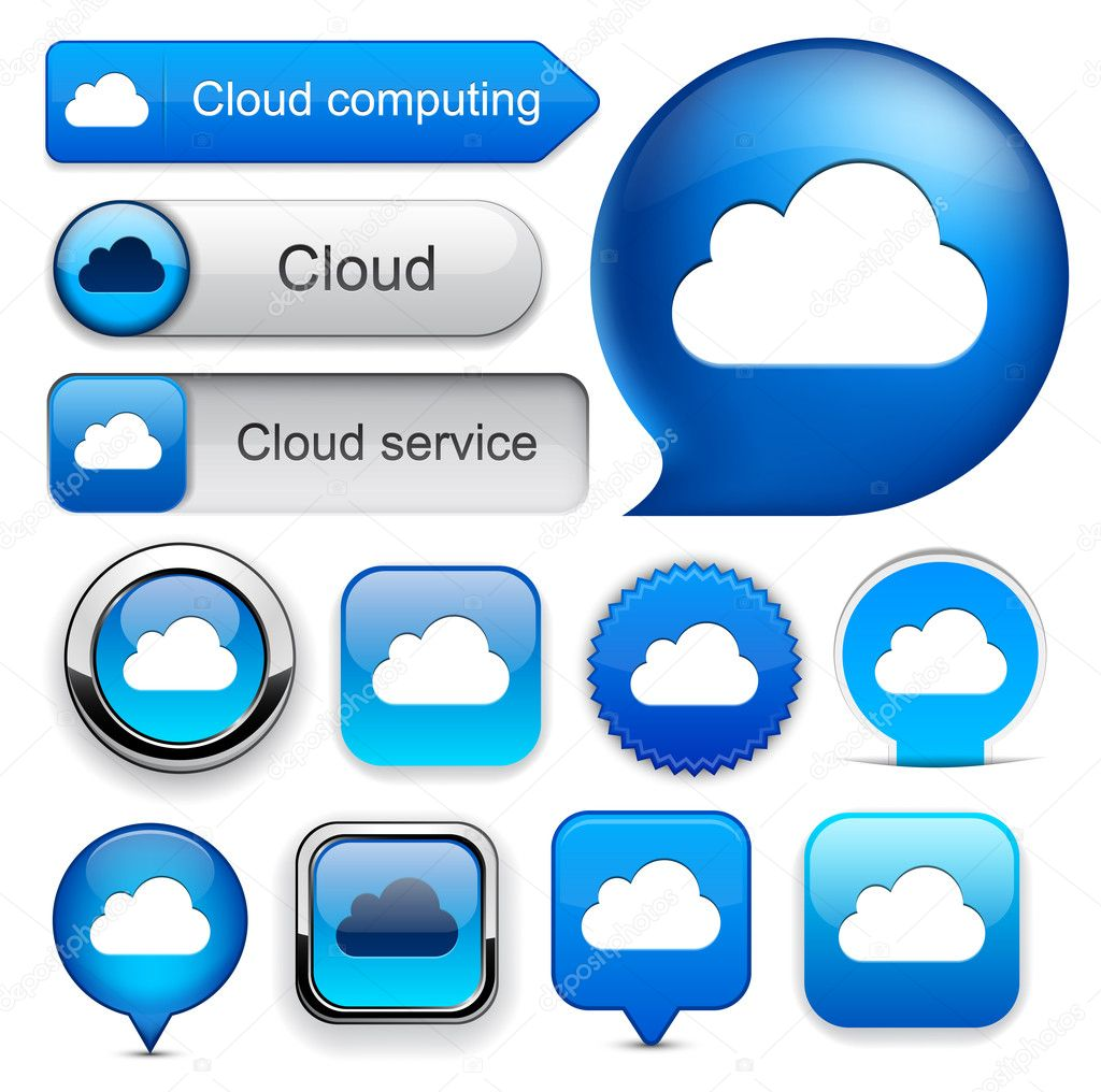 Cloud computing web blue buttons for website or app. Vector eps10. — Stock Vector #9474777