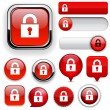 Royalty-Free Stock Vector Image: Lock high-detailed web button collection.