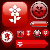 Flower high-detailed modern buttons. — Stock Vector