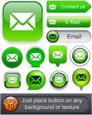Colección de correo electrónico web alto detalladas botón. — Vector de stock