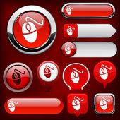 Mouse high-detailed web button collection. — Stock Vector