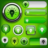 Light bulb high-detailed web button collection. — Stock Vector