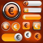 Euro high-detailed web button collection. — Stock Vector