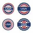 Stock Vector: Four seals in red and blue USA