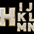 Set Diamond Gold Letters H-N — Imagen vectorial