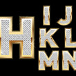 Set Diamond Gold Letters H-N - Stockvectorbeeld