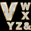 Set Diamond Gold Letters V-Z — 图库矢量图片 #10378424
