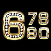 Set of Diamond and gold numbers 6-0 — Stock Vector