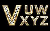 Set Diamond Gold Letters V-Z — Stock Vector