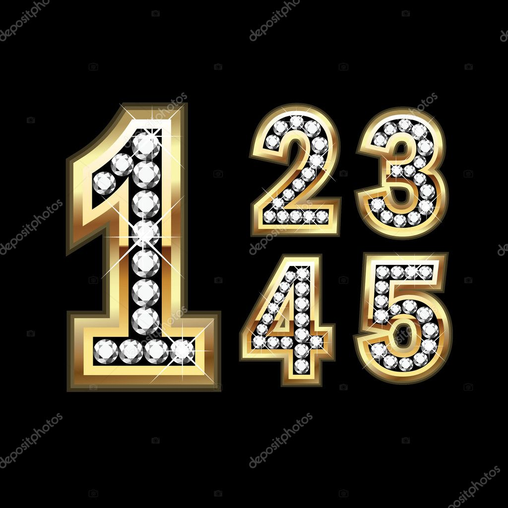 Set of Diamond and gold numbers 1-5 — Stock Vector #10387987