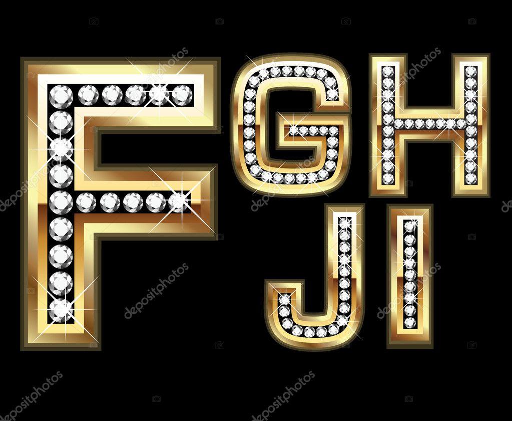 Set Diamond Gold Letters F-I — Stock Vector © deskcube ...