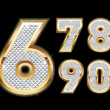 Stock Vector: Set of Diamond and gold numbers 6-0