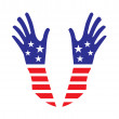 Usa hands — Stock Vector