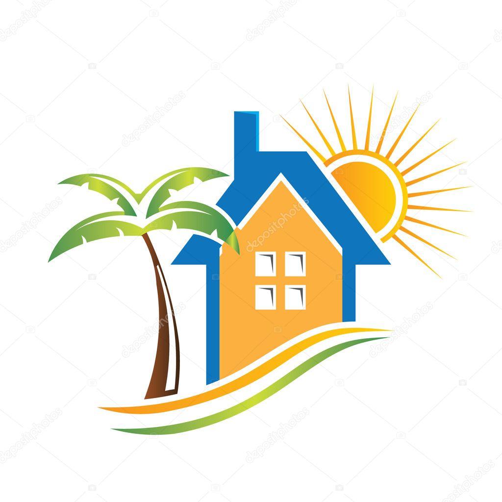 Beach house — Stock Vector © deskcube #8030489