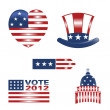 USA patriotic icons — Stock Vector