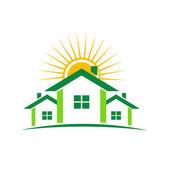 Sunny houses — Stock Vector