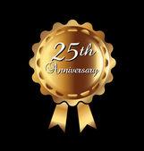 25th anniversary ribbon — Stock Vector