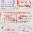 Travel visa stamps on passport — Stock Photo