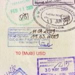 Travel visa stamps on passport — Stock Photo