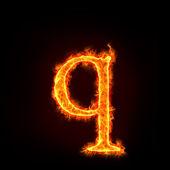 Oheň abeced, malé písmeno q — Stock fotografie