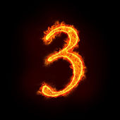 Fire numbers, 3 — Stock Photo